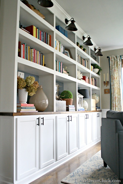 DIY bookcases with kitchen cabinets