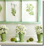 Spring mantel with botanical prints