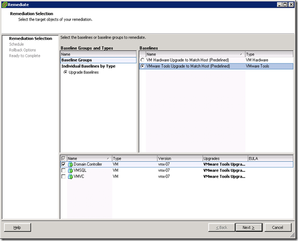 04_Remediate Selection VMware Tools