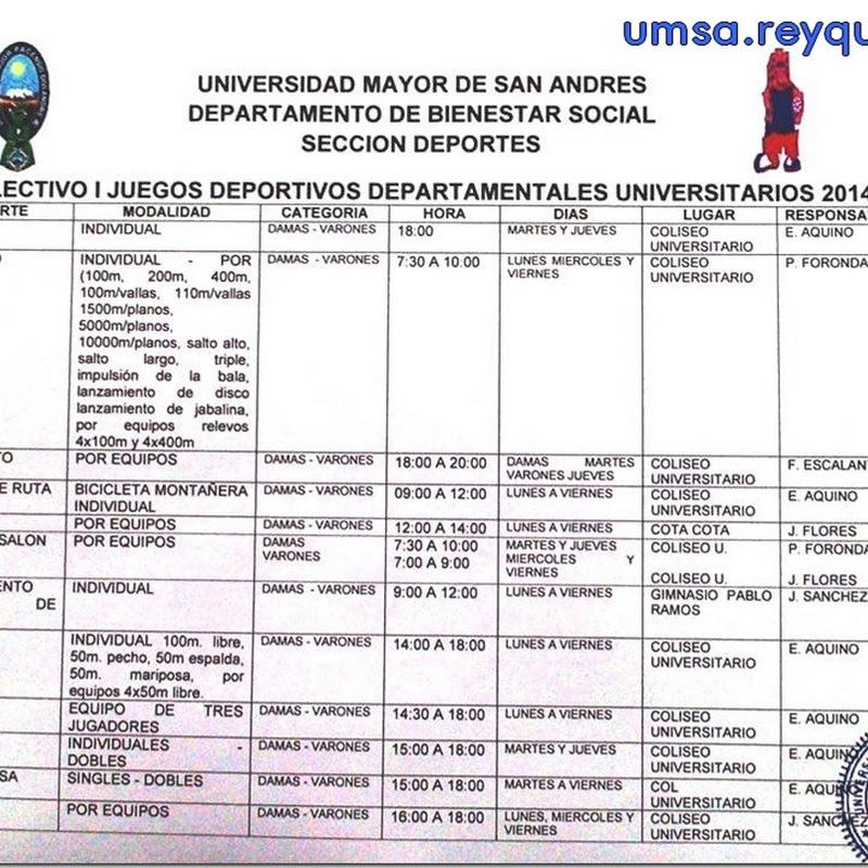 UMSA: Preselecciones I Juegos Deportivos Departamentales Universitarios La Paz 2014
