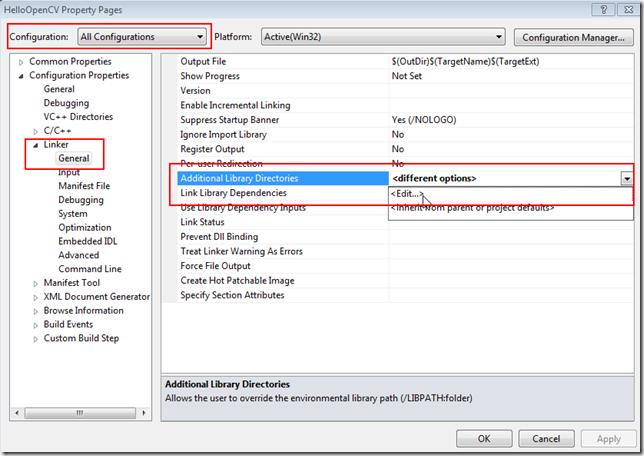 OpenCV Linker path setting