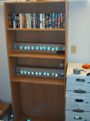 Lights in a bookshelf