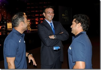 Virender Sehwag , Ravi Shastri and Sachin Tendulkar during a lighter moment at the ICC Annual Awards