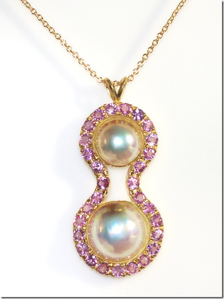 pink sapphire pearl pendant