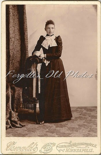 Young gal  Big Bow dark dress Tin Ceiling PRCabinet Card