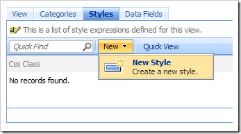 Create a new Style on the Styles tab of Project Designer.