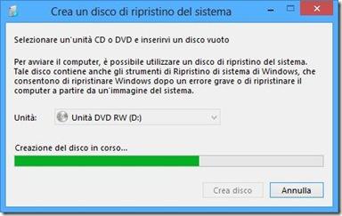 Windows 8 Creazione del disco di ripristino in corso