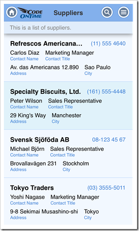 Grid view has an improved presentation in 'List' style on iPhone 5 after apply responsive 'item-desc30' tag to several fields in a web app with Touch UI.
