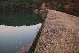 右岸天端よりダム湖側の堤体を望む