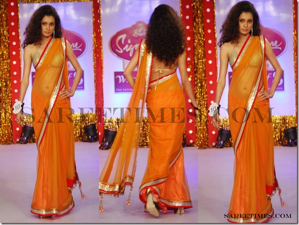 Signature_Fashion_Show_Orange_Designer_Saree