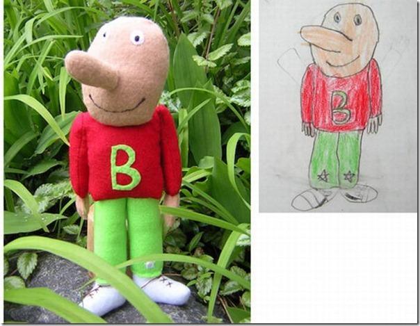 Brinquedos de pelúcia feitos a partir de desenhos de crianças (12)