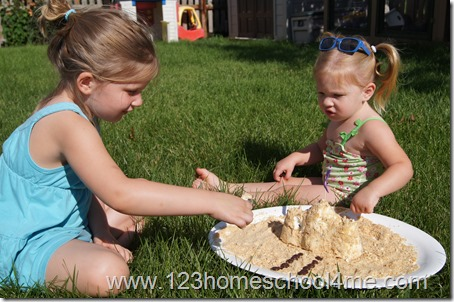 A sand castle snack for kids