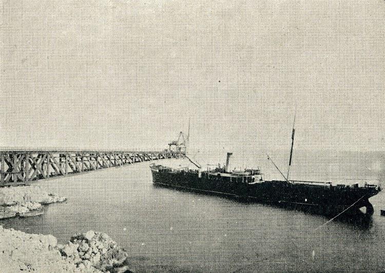 El vapor ALBIA, de Sota y Aznar, cargando. El Mundo Naval Ilustrado. Año 1.900. Pag. 134.JPG