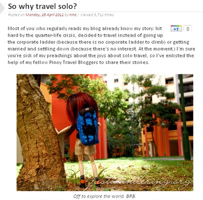 Pinoy Travel Bloggers' Blog Carnival on Traveling Solo - JustAnotherPixel.net