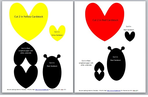 Bee and Ladybug Valentine Template Download - The Silly Pearl