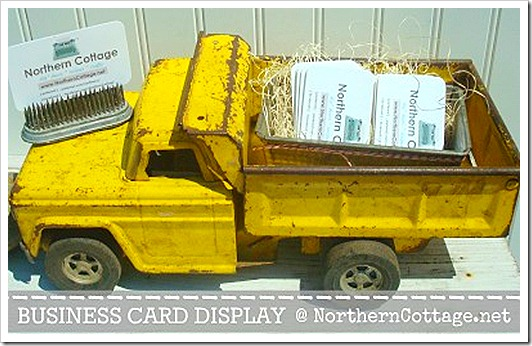 business cards in a vintage truck