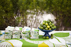 Patterned linens added bold color and texture to the lunch's beachside buffet spread of plantain chips and dips, ceviches, salads, and tacos.