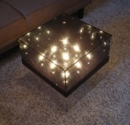 acrylic infinity lamp style coffee table, on