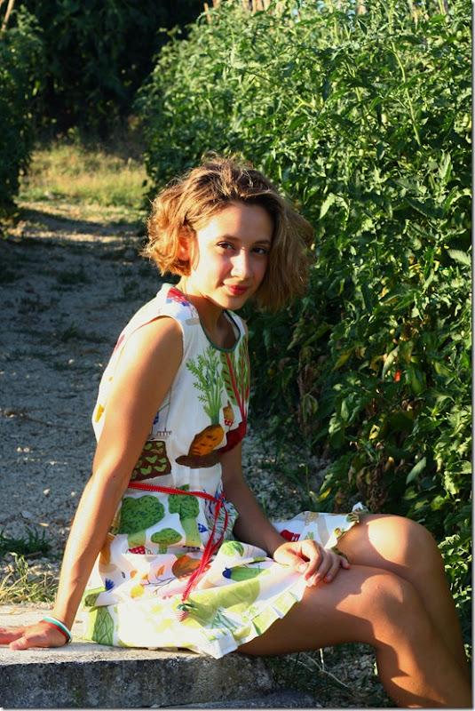 Vestito borsa orto e girasoli-004