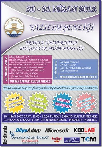Trakya Üniversitesi Yazılım Şenliği 2012 Afiş