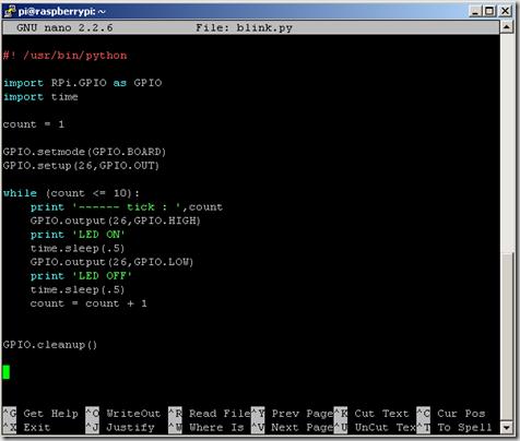 simple code python control GPIO