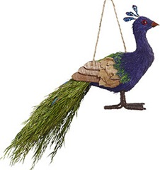 sisal peacock Christmas ornament