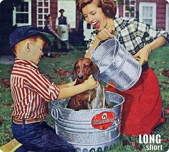 1957 Cute Dachshund Dog Bath Wheeling Steel Ad