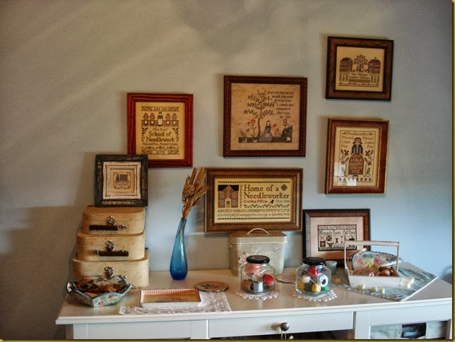 SAMPLER WALL IN MY STITCHING ROOM FEB 2013