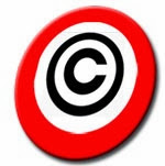 Disco de prohibición con símbolo de copyright.