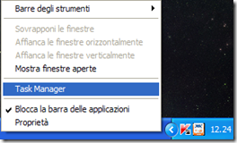 Aprire il Task Manager dalla barra di Windows