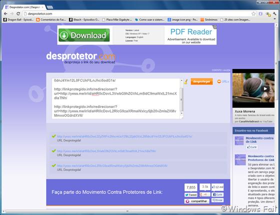 Desprotegendo URLs mútiplas no Desprotetor.com