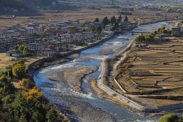 Aerial View of Paro Town, Bhutan