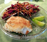 Hubbys Takeout Coconut Cod w Balsamic Vingrt Coleslaw