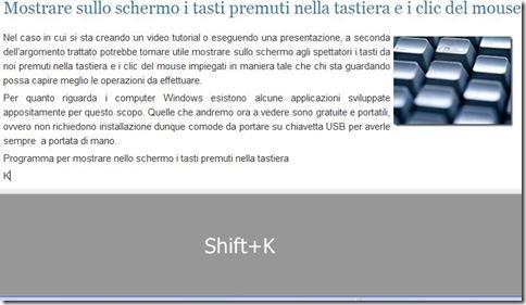 Programma per mostrare nello schermo i tasti premuti nella tastiera