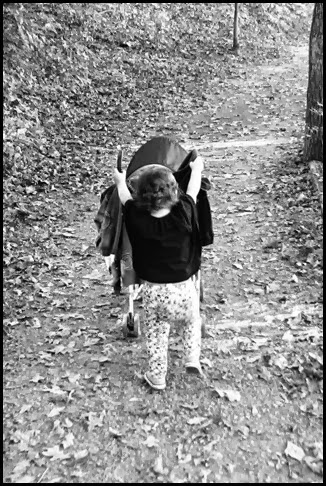 cindy pushes stroller bw