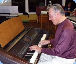 """Roy Steen playing the Clavinvoa with a rousing number unsing """"Showtime"""" style. Roy then played the Technics GA3 organ to great advantage."""