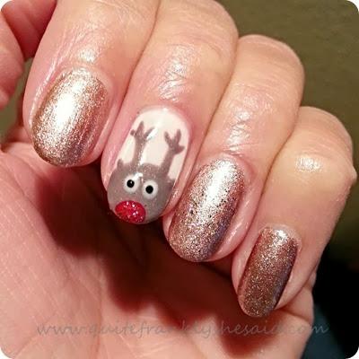 Rudolph reindeer rose gold christmas nails gel