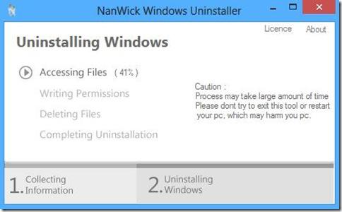 NanWick Windows Uninstaller processo di disinstallazione Windows