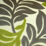 Tkanina obiciowa, trudnopalna. Pluszowa. Motyw roślinny - liście. Szara, zielona.