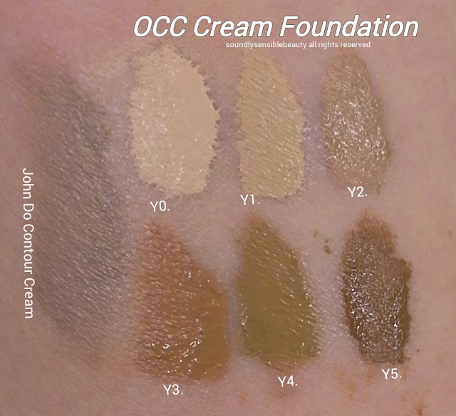 OCC Color Creme Concentrate Foundation Swatches of Shades Y