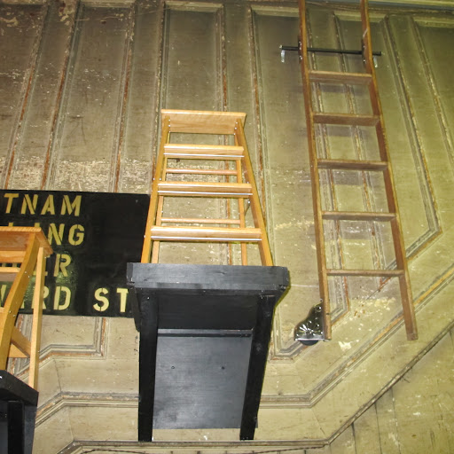 A small ladder is on display in the Putnam offices on Howard St. in Soho.