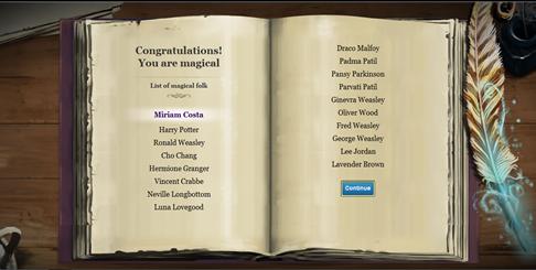 Emocionei quando vi meu nome perto do Harry, Mione, Rony... ;)
