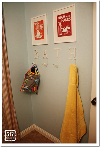 guest bath hooks and art