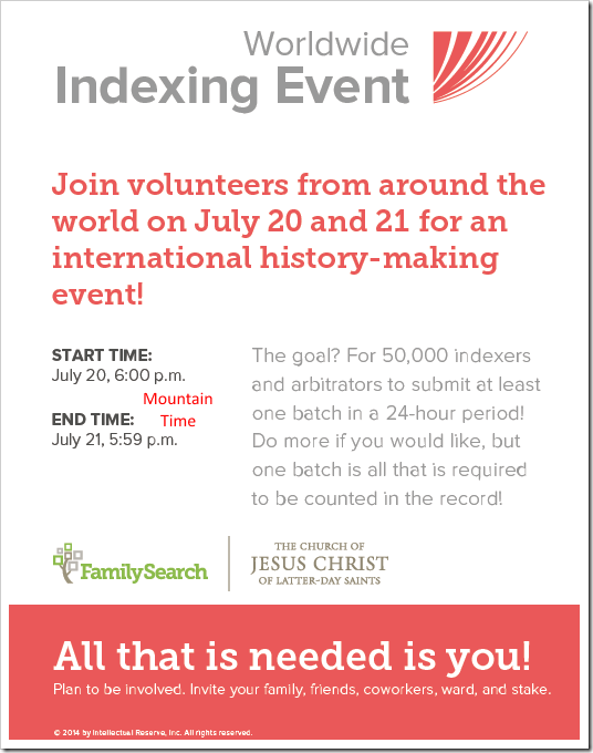 FamilySearch 2014 Worldwide Indexing Event
