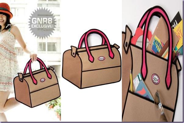 Bolsa-Desenho-2D-Marrom-Alça-Rosa