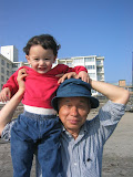Eidan at Zushi beach with Masuda-san