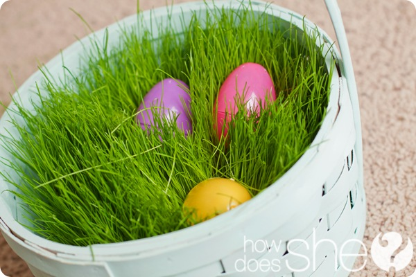 Easter grass in a basket