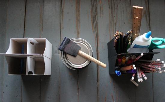 Easy DIY Homework Caddy, DIY Chalkboard Caddy, DIY Art Caddy, Recycled Drink Holder Caddy