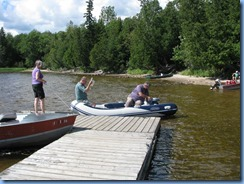 7228 Restoule Provincial Park - Peter, Janette and Bill launching Peter's inflatable rubber boat