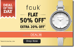Amazon : Get Flat 50% off  off on FCUK Watches